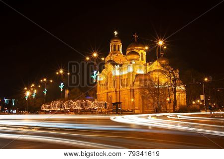 The Assumption Cathedral, Varna, Bulgaria. Illuminated At Night.