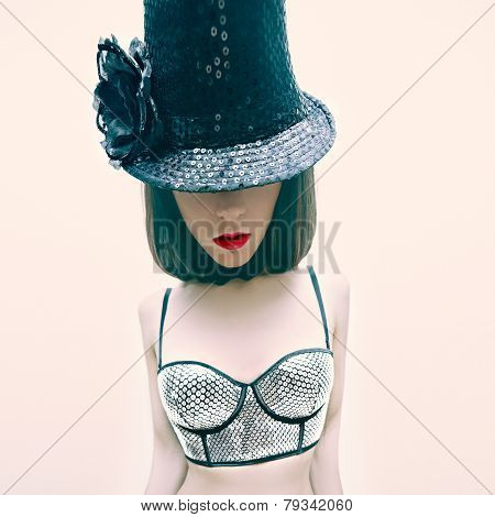 Girl In Cabaret Style Fashion New Year Party
