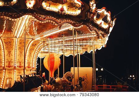 Beautiful Bright Carousel At Dark Night