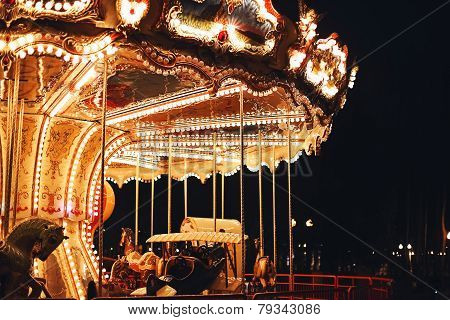 Beautiful Carousel At Dark Night