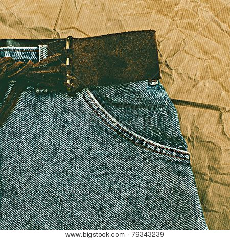 Close Up Still Life Of Jeans With Belt