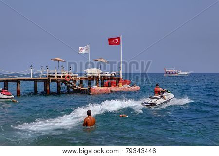 Water Activities On Holiday In Resort Of Kemer, Jet Skiing.