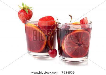 Two Glasses Of Fresh Fruit Sangria
