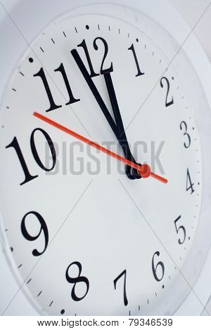 Clock Face Showing Nearly Twelve