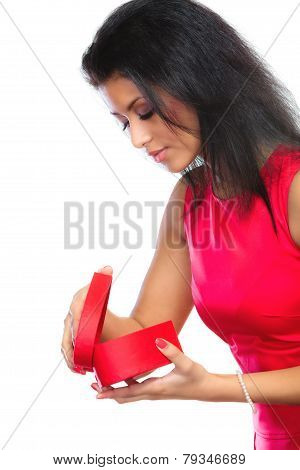 Woman Opening Red Heart Shaped Gift Box
