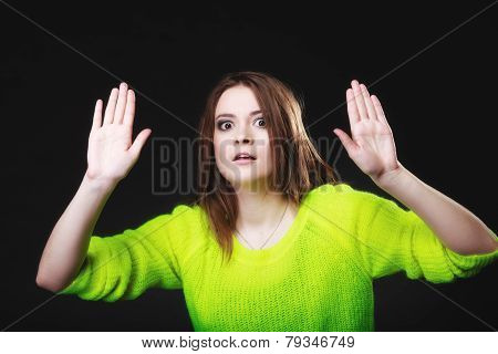 Teen Girl Making Stop Gesture On Black