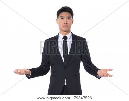 businessman with doubt gesture