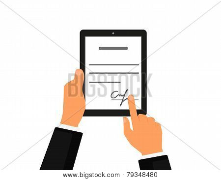 Business contract with signature on tablet pc