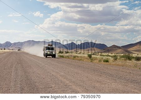 Driving In A Dirt Road, Namibia