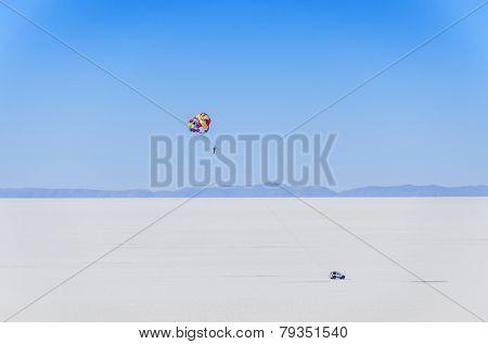 Parasailing in Salar de Uyuni, Bolivia