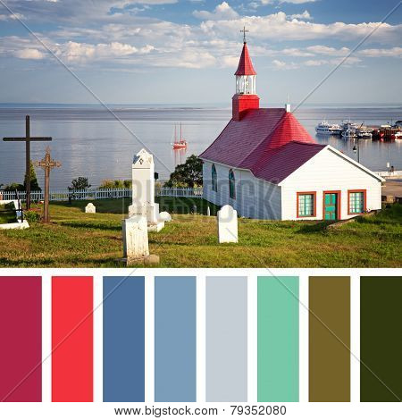 Tadoussac Chapel, overlooking the St Lawrence River, Quebec, Canada, with a palette of complimentary colour swatches.