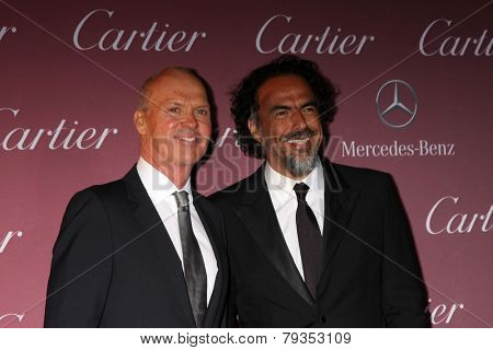 LOS ANGELES - JAN 3:  Michael Keaton, Alejandro Gonzalez Inarritu at the Palm Springs Film Festival Gala at a Convention Center on January 3, 2014 in Palm Springs, CA