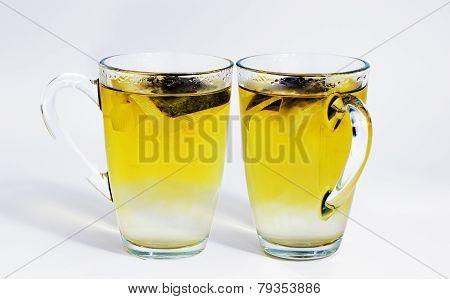 Two Glasses Of Green Tea