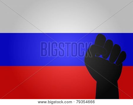 Russian Flag With Protest Sign