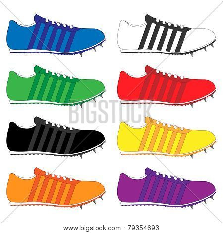 Running Shoes With Spikes And Stripes In Different Colours