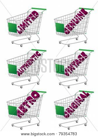 Green 3D Shopping Cart With Vintage Texts