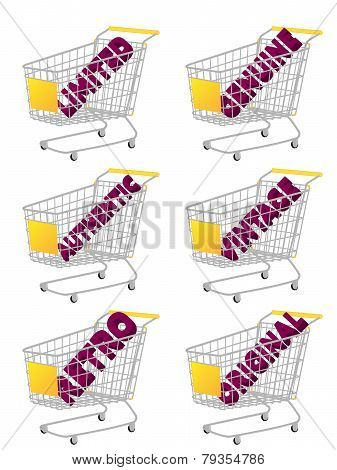Yellow 3D Shopping Cart With Vintage Texts