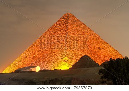 Giza Pyramid And Sphinx Light Show At Night - Cairo, Egypt