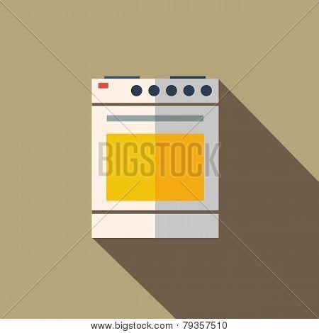 Modern flat design concept icon kitchen stove oven. Vector illus