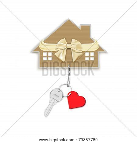 Gift Key With Heart On A Chain And A House With A Bow
