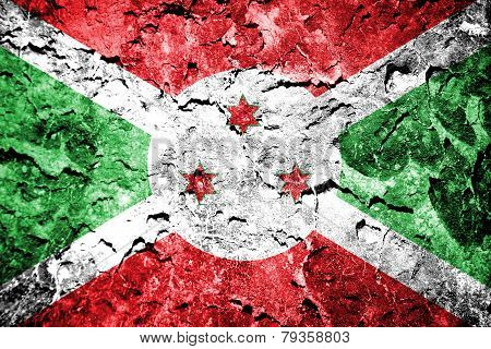 flag of Burundi painted on concrete wall