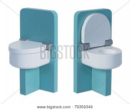 Green Toilet With Seat Down And Seat Up