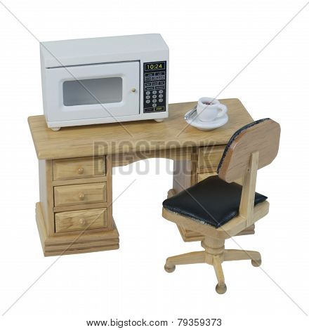 Microwave And Coffee On Desk