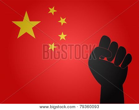 Chinese Flag With Protest Sign