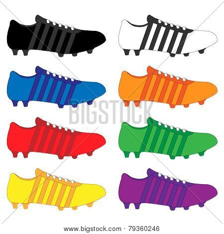 Football Cleats With Stripes In Different Colours