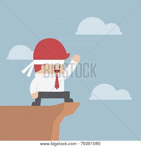 Motivated Businessman On The Cliff, Motivation Concept