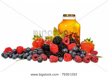 Vitamin And Mix Berries Isolated