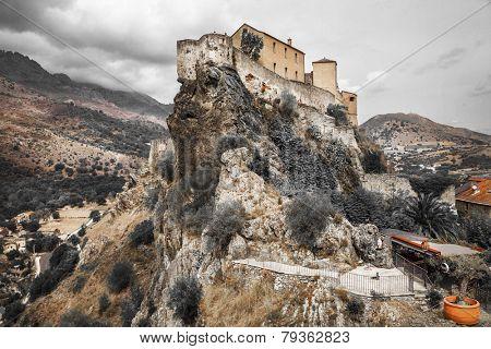 Corte - impressive medieval town in Corsica, artistic toned pict