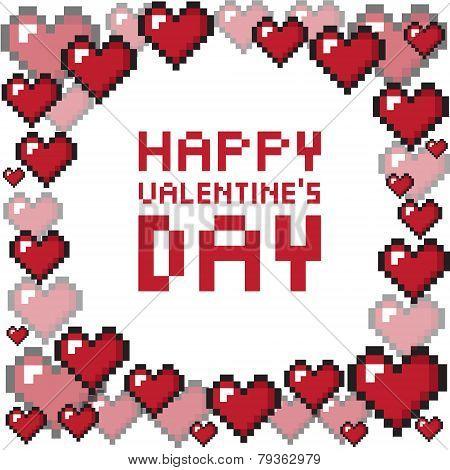 Pixel valentine's day background.