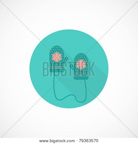 Vector Flat Icon. Mittens With Ornament