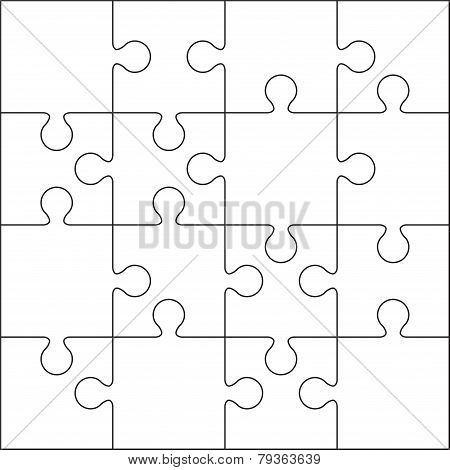 16 Jigsaw puzzle blank template.