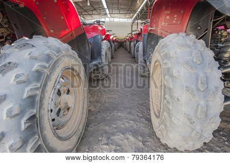 Closeup Of Atv Tires In A Row
