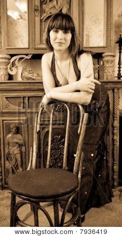Woman Posing In Vintage Flat