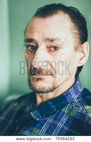 Portrait Of Serious Sad Old Adult Expressive Man With Beard Look