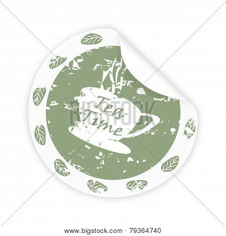 Round Sticker With The Words Teatime