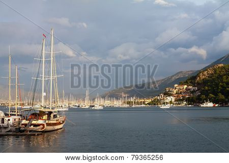 Yachts and boats in the harbor