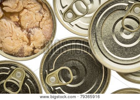 Alaskan canned salmon - top view of cans with one opened