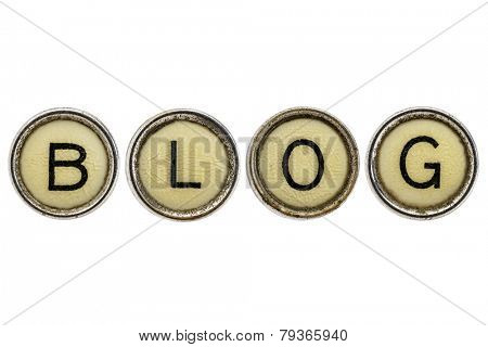 blog word in old round typewriter keys isolated on white