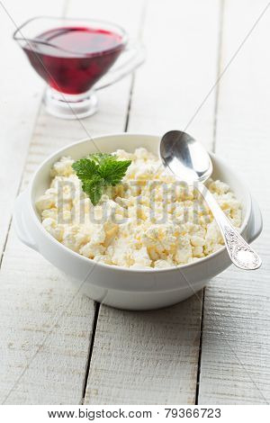Cottage Cheese And Cherry Jam.
