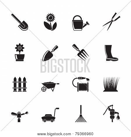 Silhouette Garden and gardening tools and objects icons