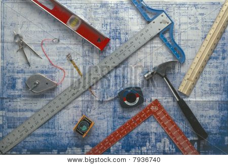 tools on a blue print