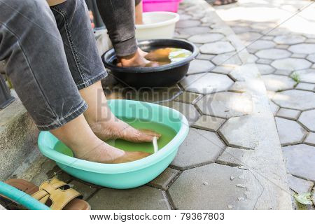 Foot Soaking In Herbal Water