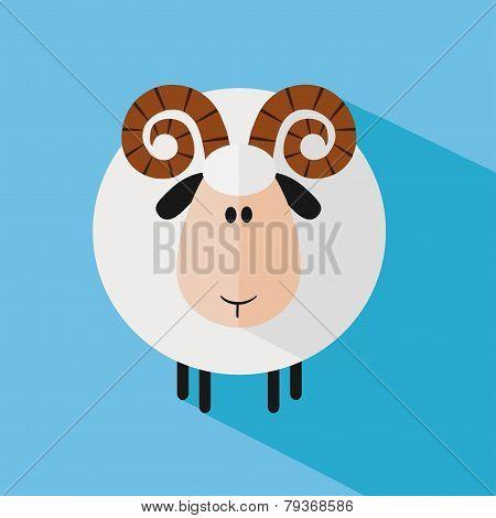 Funny Ram Sheep.Modern Flat Design