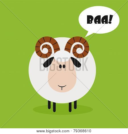 Ram Sheep.Modern Flat Design