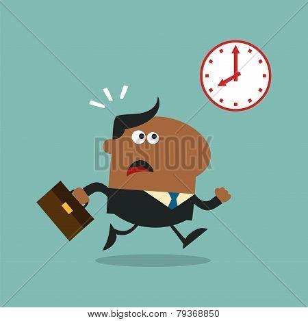 African American Manager Running Past A Clock Modern Flat Design
