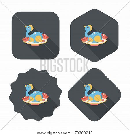 Chinese New Year Flat Icon With Long Shadow,Chinese Chicken Cuisine